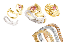 Rings in 18kt red gold, yellow gold, white gold with brilliant and tourmaline.