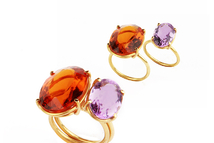 Rings in 18kt gold with citrine and amethyst.