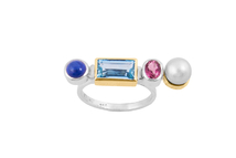 Ring in 18kt white gold with sapphire, aquamarine, tourmaline and Akoya pearl.