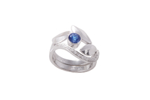 Rings in 18kt white gold with sapphire and brilliant.