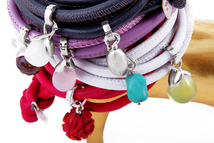Leather bracelet with interchangeable charms in sterling silver with smoky quartz, opal, rose quartz, madrepore, turquoise and prehnite.
